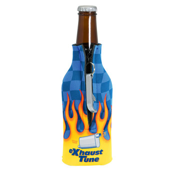 Zippered Bottle Coolie (TM) With Bottle Opener